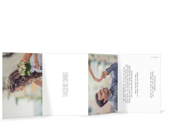 Dankeskarte zur Hochzeit Blanche, Innensieten in weiß
