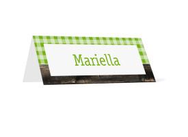 Tischkarten zur Hochzeit Alpenglühen (Klappkärtchen quer) Grün