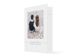 Dankeskarte zur Hochzeit Warschau mit zwei Fotos