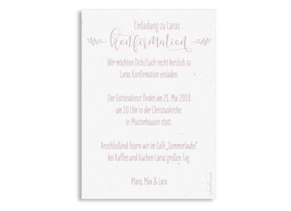 Einladung Konfirmation Blumenkranz (Postkarte), Motiv: Blumenkranz, Rückseite, Farbvariante: altrosa