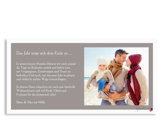 Postkarte zu Weihnachten Nizza, Rückseite in taupe