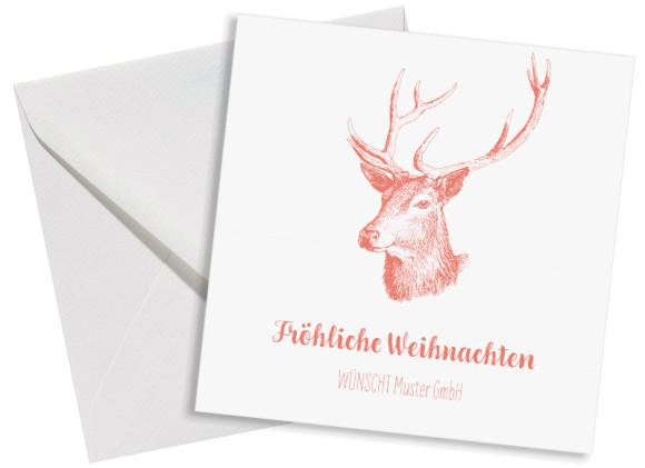 Firmen-Weihnachtskarte Pure Deer (Postkarten, quad.) mit Umschlag, Farbvariante: apricot