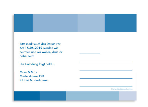 Rückseite, Einladungs-Postkarte zur Hochzeit, Motiv Stockholm, Farbversion: blau