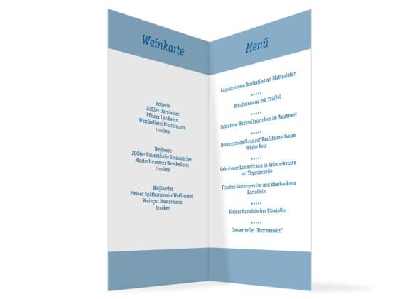 Innenansicht, Menükarte zur Hochzeit (Klappkarte), Motiv Klassik, Farbversion: blau