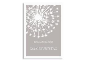 Einladungskarten zum Geburtstag Pusteblume Pastell Taupe