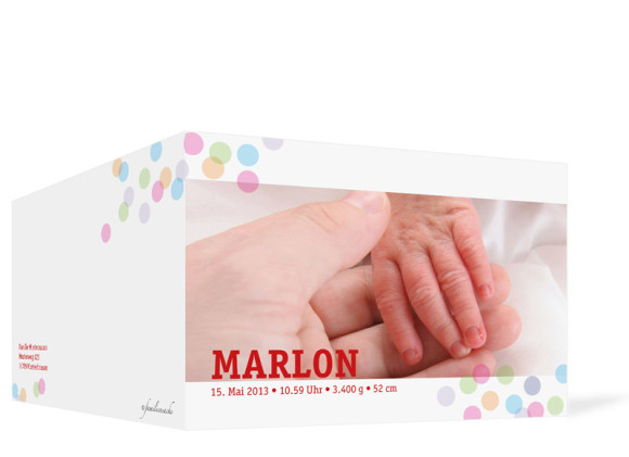 Außenansicht, Klappkarte zur Geburt, Motiv Marlene/Marlon, Farbversion: rot