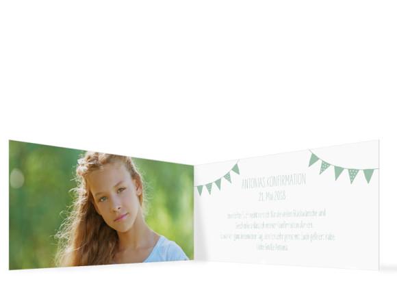 Danksagungskarte zur Konfirmation, Motiv: Frühlingsfrisch KFD, Innenansicht, Farbvariante: Pastellgrün