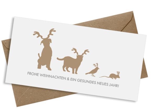 Weihnachtskarte Haustiere mit Umschlag, Farbversion: beige