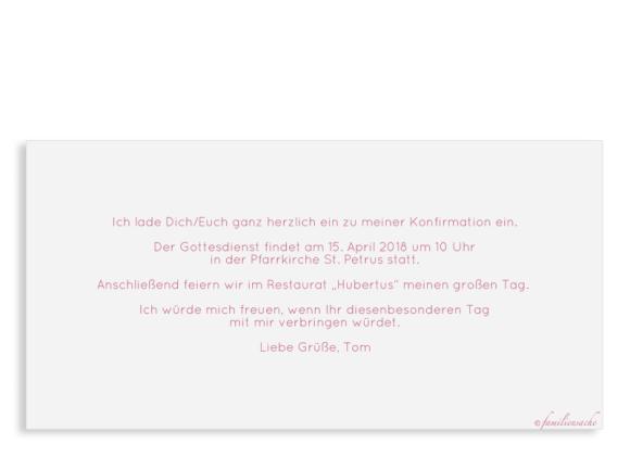 Einladungskarte als Postkarte DIN Lang mit vier Fotos, Motiv: Ziel, Rückseite, Farbvariante: altrosa