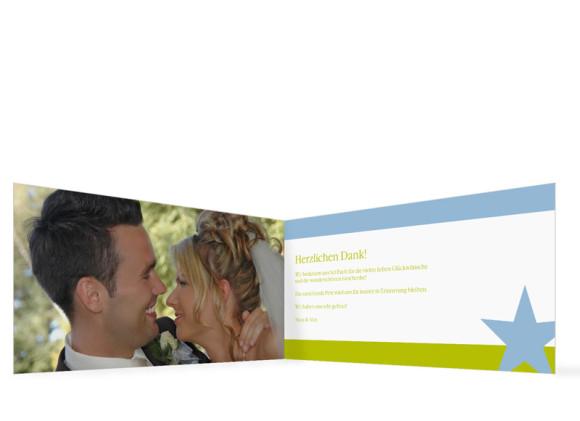 Innenansicht, Danksagungs-Klappkarte zur Hochzeit (Format DIN Lang), Motiv New York, Farbversion: blau-grün