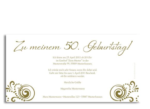 Rückseite, Einladungs-Postkarte zum Geburtstag, Motiv Goldene Zeiten, Farbversion: beige