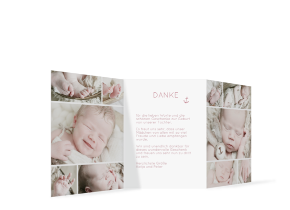 Geburtskarte (Leporello), Motiv: Antonia/Alexander, Rückseite, Farbvariante: altrosa