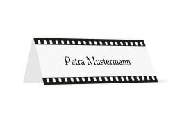 Tischkarten zur Hochzeit Hollywood (Klappkärtchen quer) Weiß