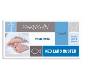 Taufdanksagungen Nora/Neo (Postkarte) Blau