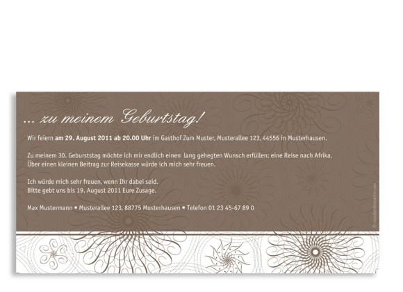 Rückseite, Einladungs-Postkarte zum Geburtstag, Motiv Mandala, Farbversion: beige