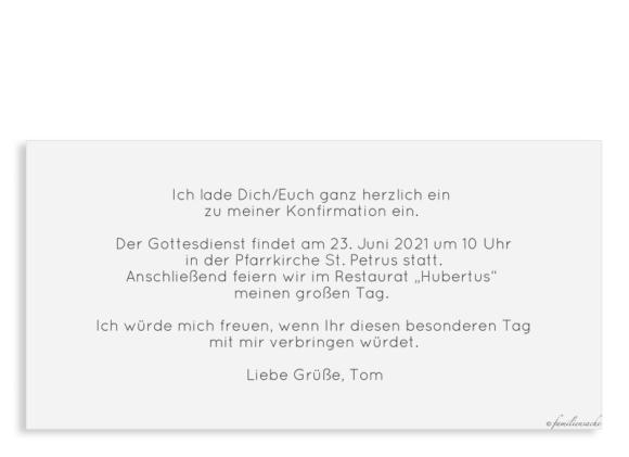 Einladungskarte zur Konfirmation (Postkarte DL mit 4 Fotos), Motiv: Weg, Rückseite, Farbvariante: hellblau