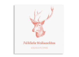 Weihnachtsgrüße Pure Deer (quadratische Postkarte) Apricot