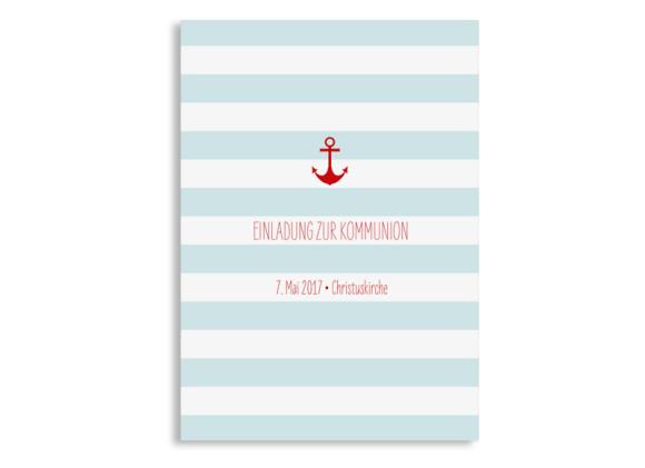 Einladungskarte zur Kommunion Stripes Anchor