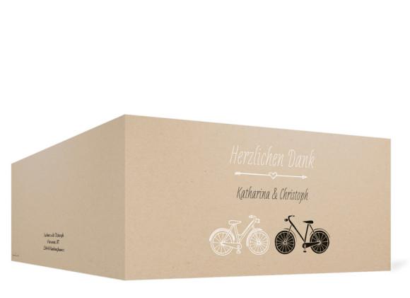 Danksagungskarte zur Hochzeit, Motiv: Fahrrad, Format: Klappkarte DL quer, Farbe: beige, Ansicht: außen