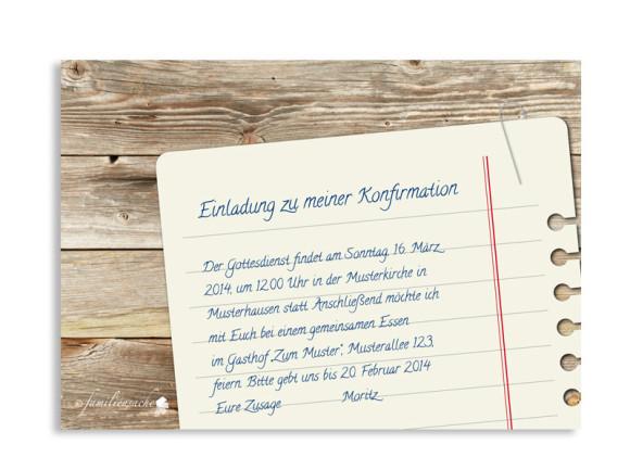 Konfirmationseinladung, Motiv Notizzettel, Rückseite, Farbversion: braun