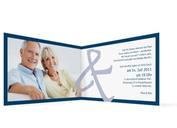 Innenansicht, Einladung zur Silbernen Hochzeit, Motiv Bern, Farbversion: blau