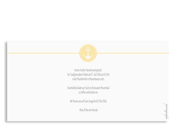 Taufkarte mit Anker-Symbol, Rückseite, Postkarte DIN Lang, Motiv Hamptons Anchor, Farbversion: gelb