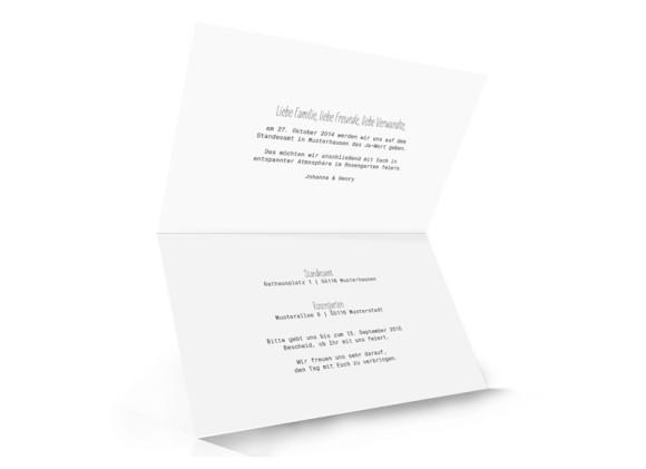 Hochzeitseinladungen Blanche, Innenansicht der Farbversion: weiß