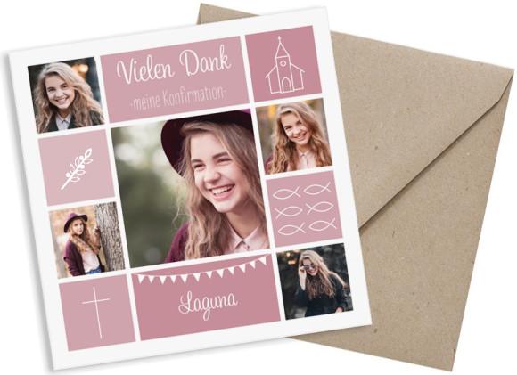 Konfirmationsdanksagungen  (quadratische Postkarte mit fünf Fotos), Motiv: Bildreich, mit Briefhülle, Farbvariante: altrosa