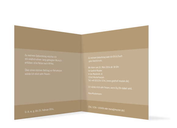 Einladungskarte Geburtstag, Motiv Gala, Innenansicht, Farbversion: beige