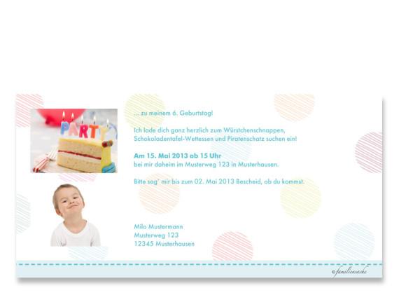 Rückseite, Einladungs-Postkarte zum Geburtstag, Motiv Zahlen, Farbversion: blau