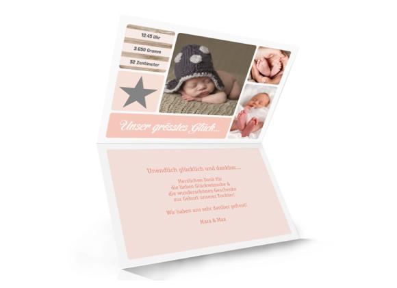 Geburtskarte (Klappkarte), Motiv: Lucia/Luca, Innenansicht, Farbversion: apricot