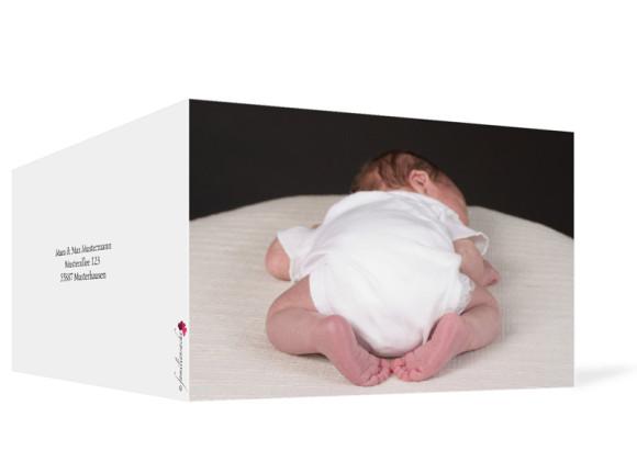 Außenansicht, Klappkarte zur Geburt, Motiv Fotokarte, Farbversion: weiß