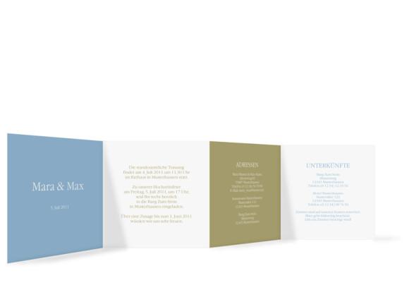 Innenansicht, Einladungs-Leporello zur Hochzeit, Motiv New York, Farbversion: blau-oliv