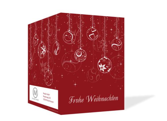 Außenansicht, Firmen-Weihnachtskarte Weihnachtskugeln, Farbversion: rot