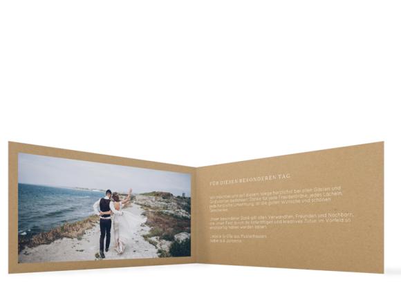 Danksagung Hochzeit (Klappkarte DIN Lang, mit Foto), Motiv: Malaga, Innenansicht, Farbvariante: weiss