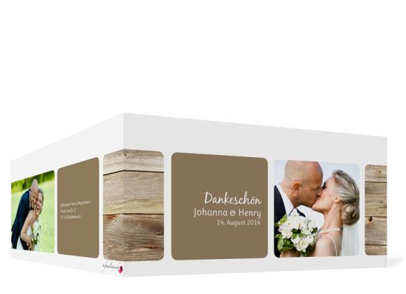 Außenansicht, Dankeskarte Zürich zur Hochzeit, Farbversion: schlamm
