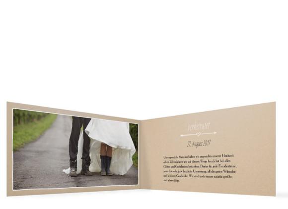Danksagungskarte zur Hochzeit, Motiv: Fahrrad, Format: Klappkarte DL quer, Farbe: beige, Ansicht: innen