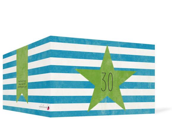 Einladung zum 30. Geburtstag Vintage Star, Klappkarte, Außenansicht, Farbvariante: blau/grün