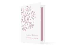 Firmen-Weihnachtskarten Eiskristall (Klappkarte) Rosé