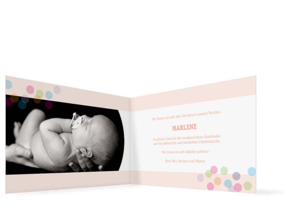 Innenansicht, Klappkarte zur Geburt, Motiv Marlene/Marlon, Farbversion: apricot