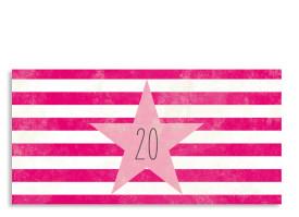 Einladung zum 20. Vintage Star (Postkarte, mit 2 Fotos) Pink/Rosa