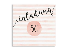 Einladung 50. Geburtstag Dots 'n Stripes Apricot