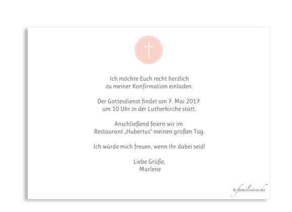 Einladung zur Konfirmation Motiv Pure Cross,  Rückseite, Farbversion: apricot