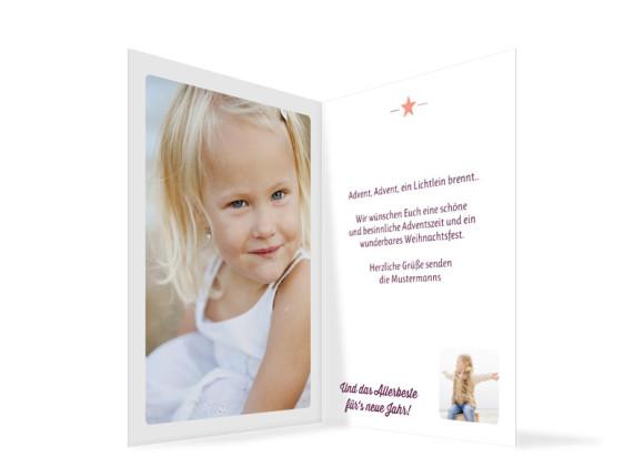 Weihnachtskarte (Klappkarte A6), Motiv: Kasper, Innenansicht, Farbversion: brombeer/apricot