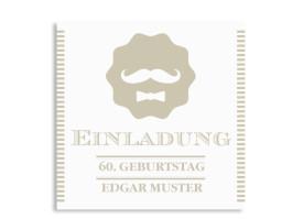 Einladungskarten Gentleman (quad. Postkarte) Beige