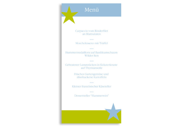 Rückseite, Menükarte zur Hochzeit (DIN Lang-Karte, zweiseitig), Motiv New York, Farbversion: blau-gruen
