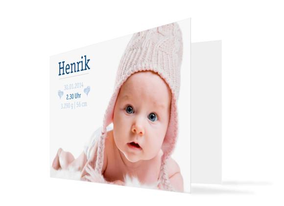 Geburtskarte Hanna/Henrik (Klappkarte, mit zwei Fotos)