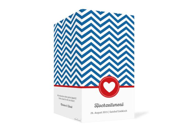 Menükarten Hamptons Heart, Außenansicht der Farbversion: blau/rot