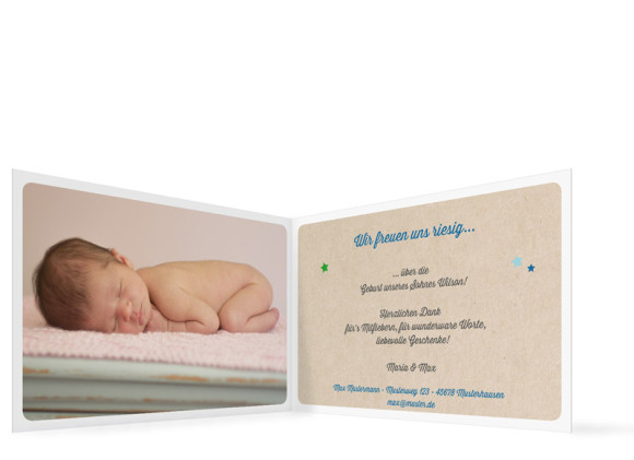 Geburtskarten, Motiv Wilma/Wilson, Innenansicht, Farbversion: blau/grün