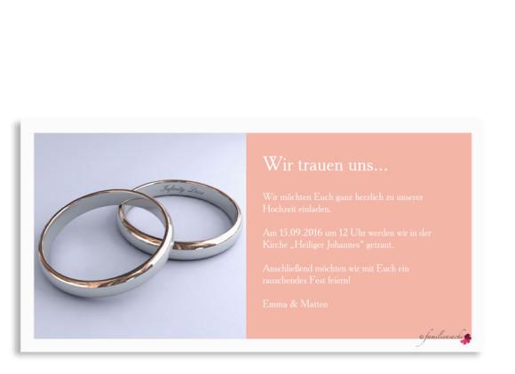 Hochzeitseinladung Nizza, Postkarte DL mit Foto, Rückseite, Farbversion: apricot